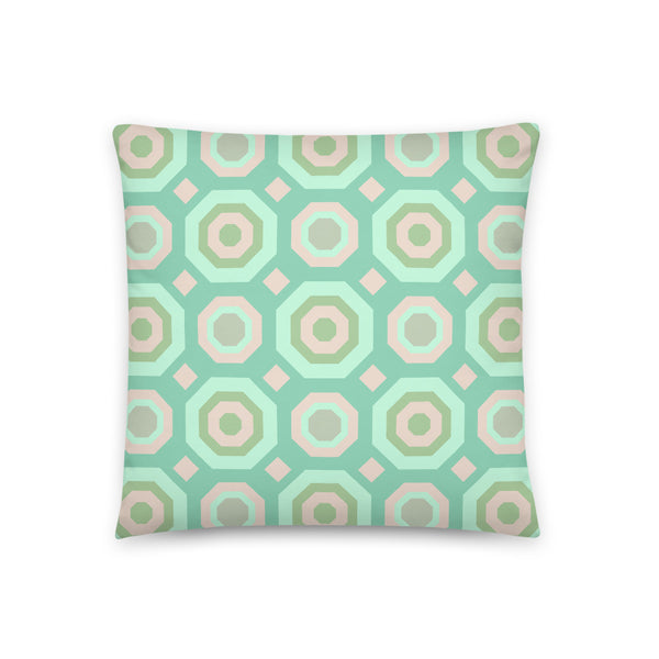 Halcyon Geos Print - Throw Pillow - in Teal