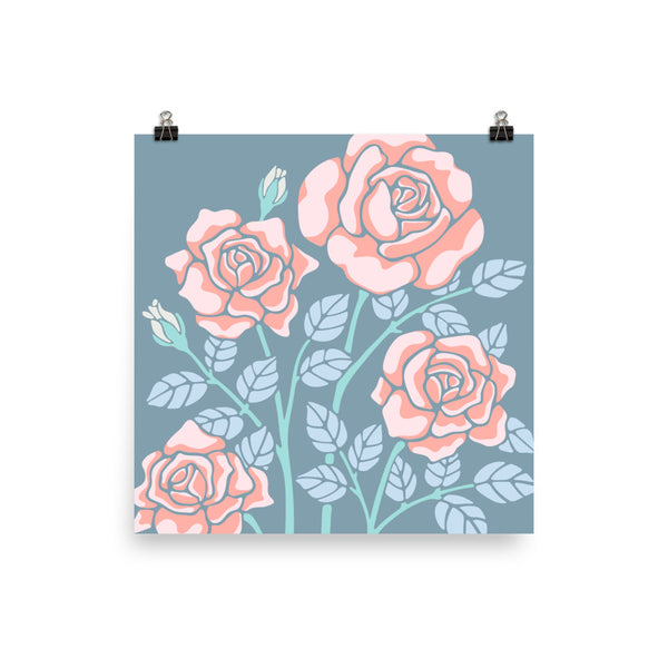 Rose-Coloured - Art Print - in Blue/Coral