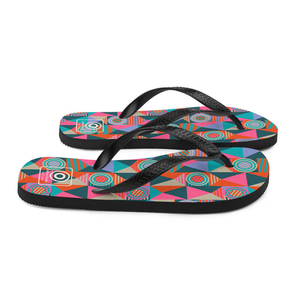 Grids and Circles Print - Flip Flops