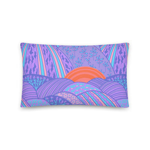 Sunset in the Lavender Fields Print - Throw Pillow