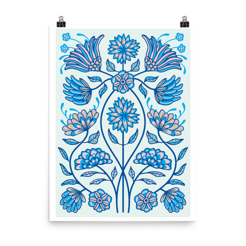 Folk Floral-4 - Art Print - in Blue