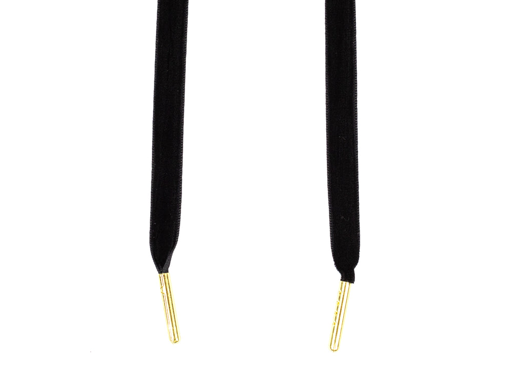 "Black Premium Velvet 5/16"" Sneaker Laces with Gold Tips in"
