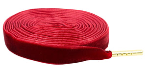 "Red Premium Velvet 5/16"" Sneaker Laces with Gold Tips"