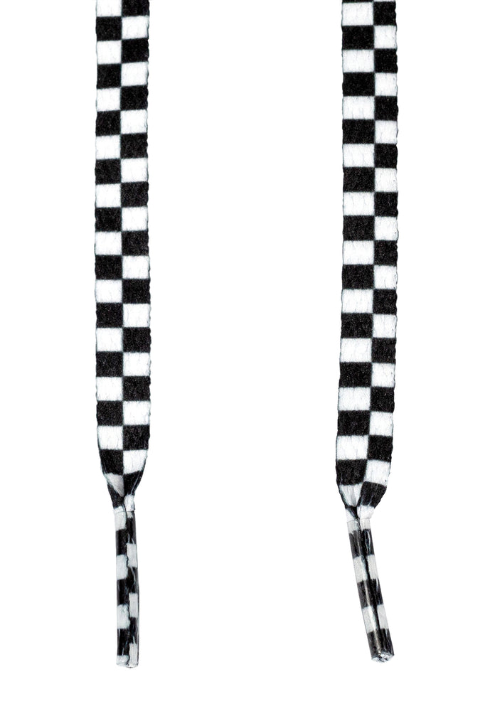Premium Checkered Black and White Flat Shoe Laces Sneakers 5/16""