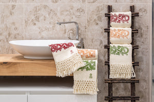 Hand-Printed Cotton Towels - Set of Two - RUST