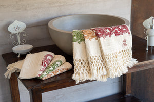Hand-Printed Cotton Towels - Set of Two - RED