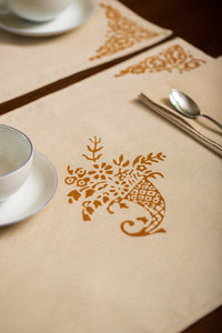 Hand-Printed Placemat with Napkin - Set of Two - Cornucopia