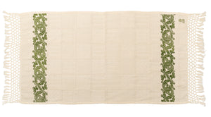 Hand-Printed Cotton Towels - Set of Two - GREEN