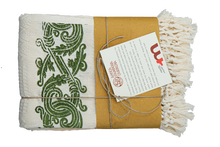 Load image into Gallery viewer, Hand-Printed Cotton Towels - Set of Two - GREEN