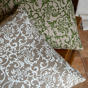 Hand-Printed Pillow Cover - WHITE