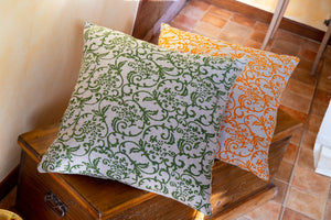 Hand-Printed Pillow Cover - ORANGE