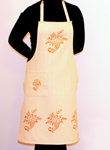 Hand-Printed Apron - RUST