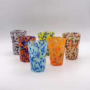 "Murano Set of Six Hand Blown ""Goti"" Glasses with Carafe"