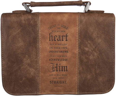 "Cover de Biblia Mediano- ""Trust In The Lord Two-Tone Brown Classic Faux Leather- Proverbs 3:5"""