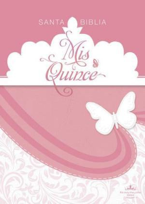 RVR 1960 BIBLE MIS QUINCE PINK/WHITE LEATHERTOUCH