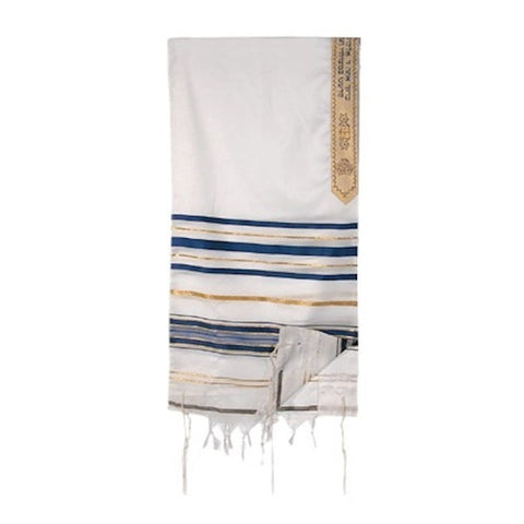 Tallit-T'fillah (Pray) 100% Wool-Blue/Gold