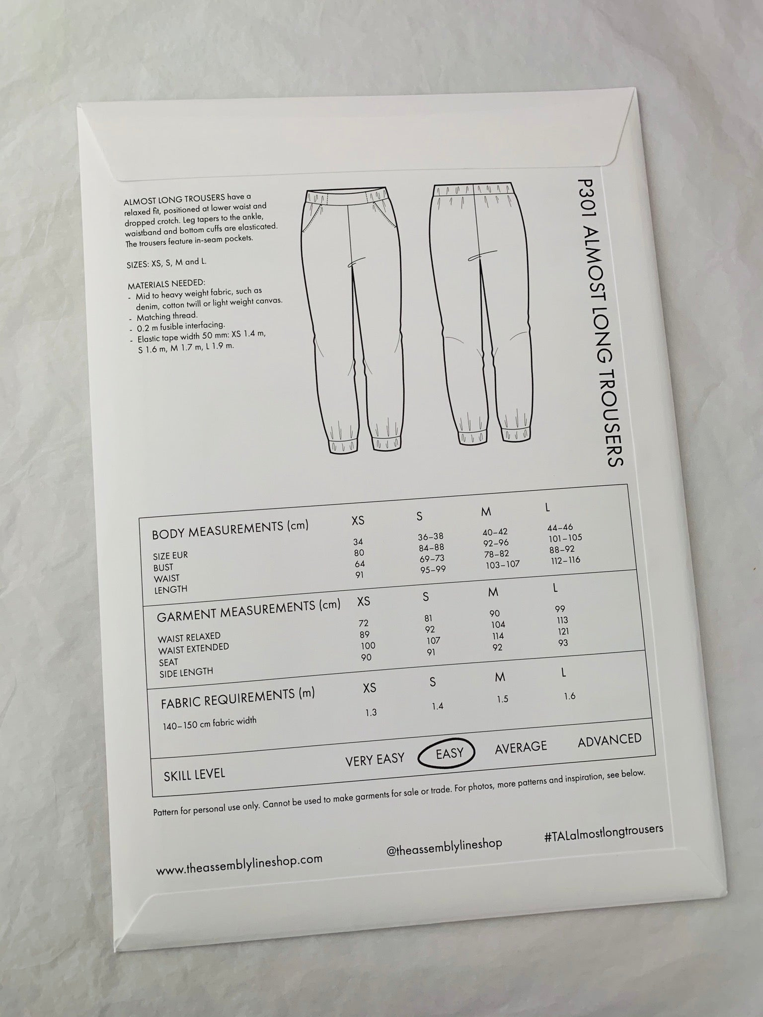 Assembly Line Almost Long Trousers Sewing Pattern