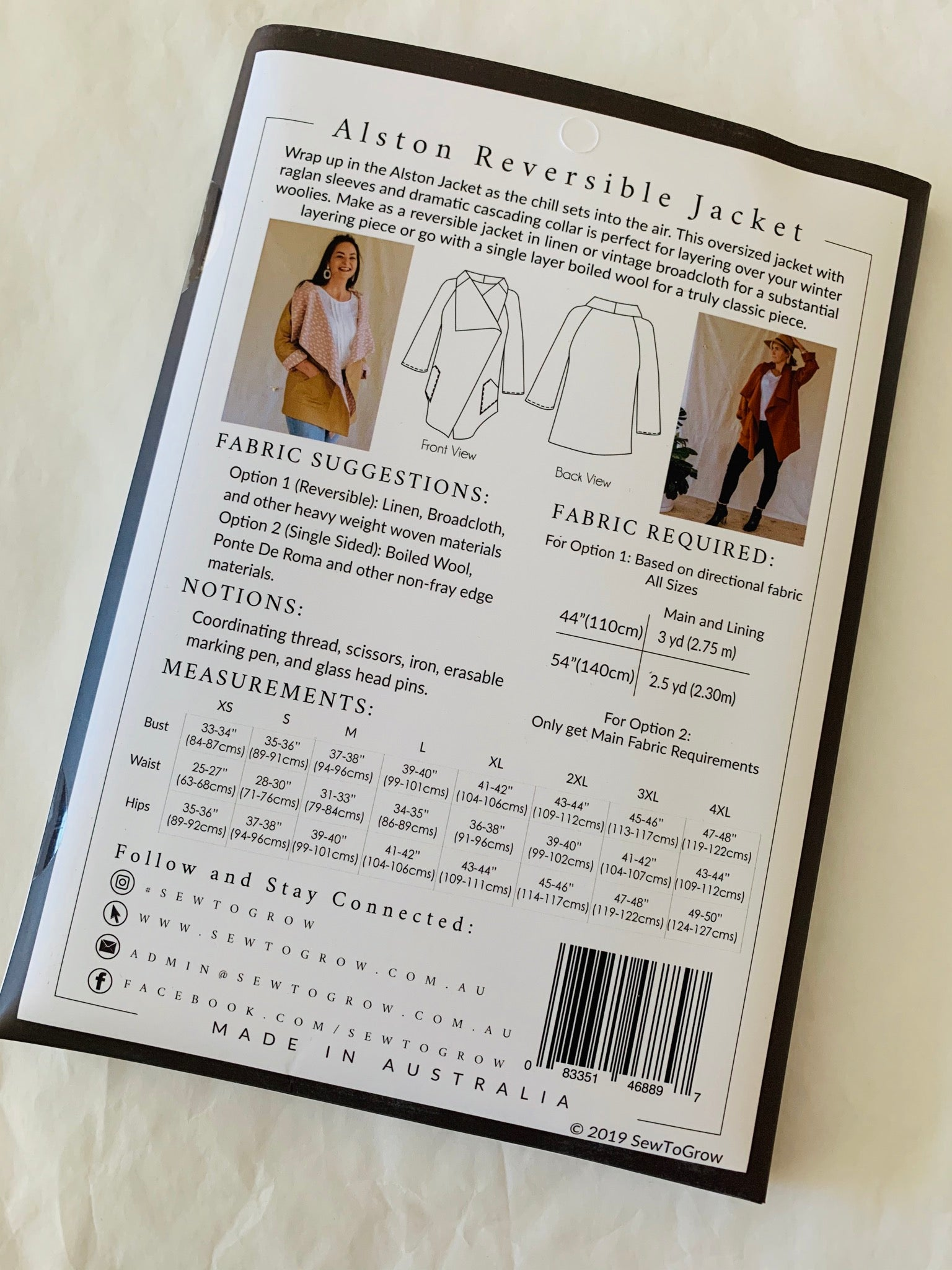Sew To Grow Alston Reversible Jacket paper sewing pattern
