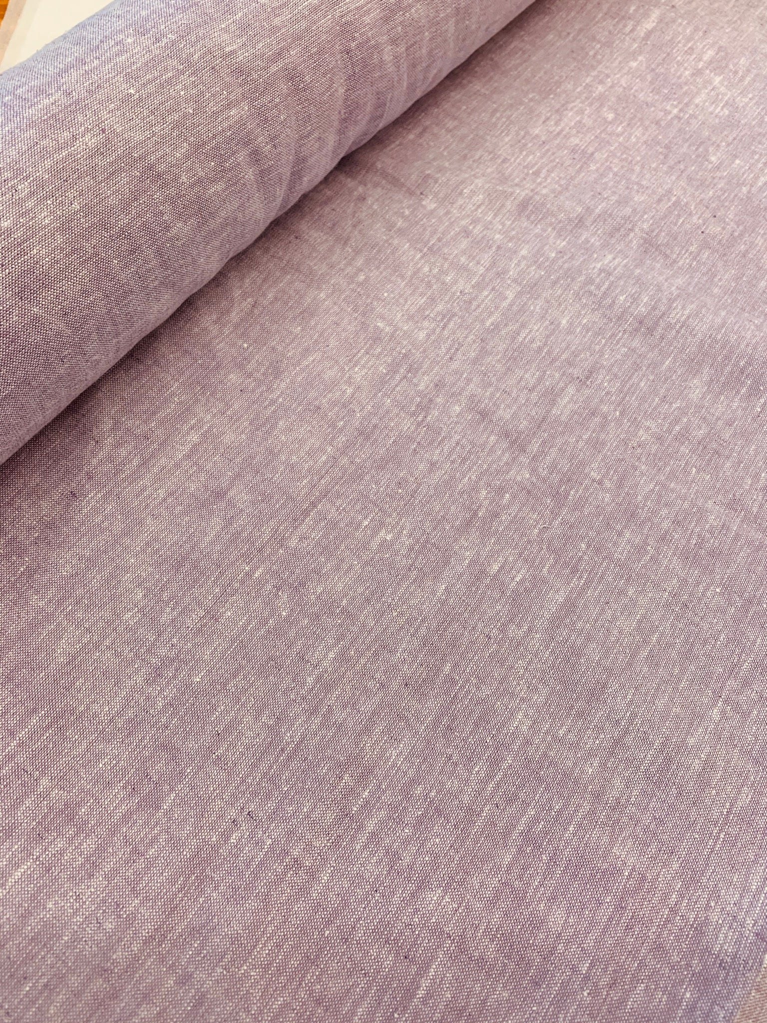 Linen/cotton yarn dye medium weight cloth: Lilac