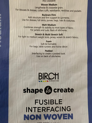 Birch fusible interfacing: IRON ON in white