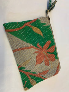 Indian Kantha purse: Various in Green & Blue & Purple