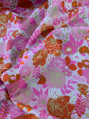 Ruby Star Society: Rise Metallic Peony Grow Yardage