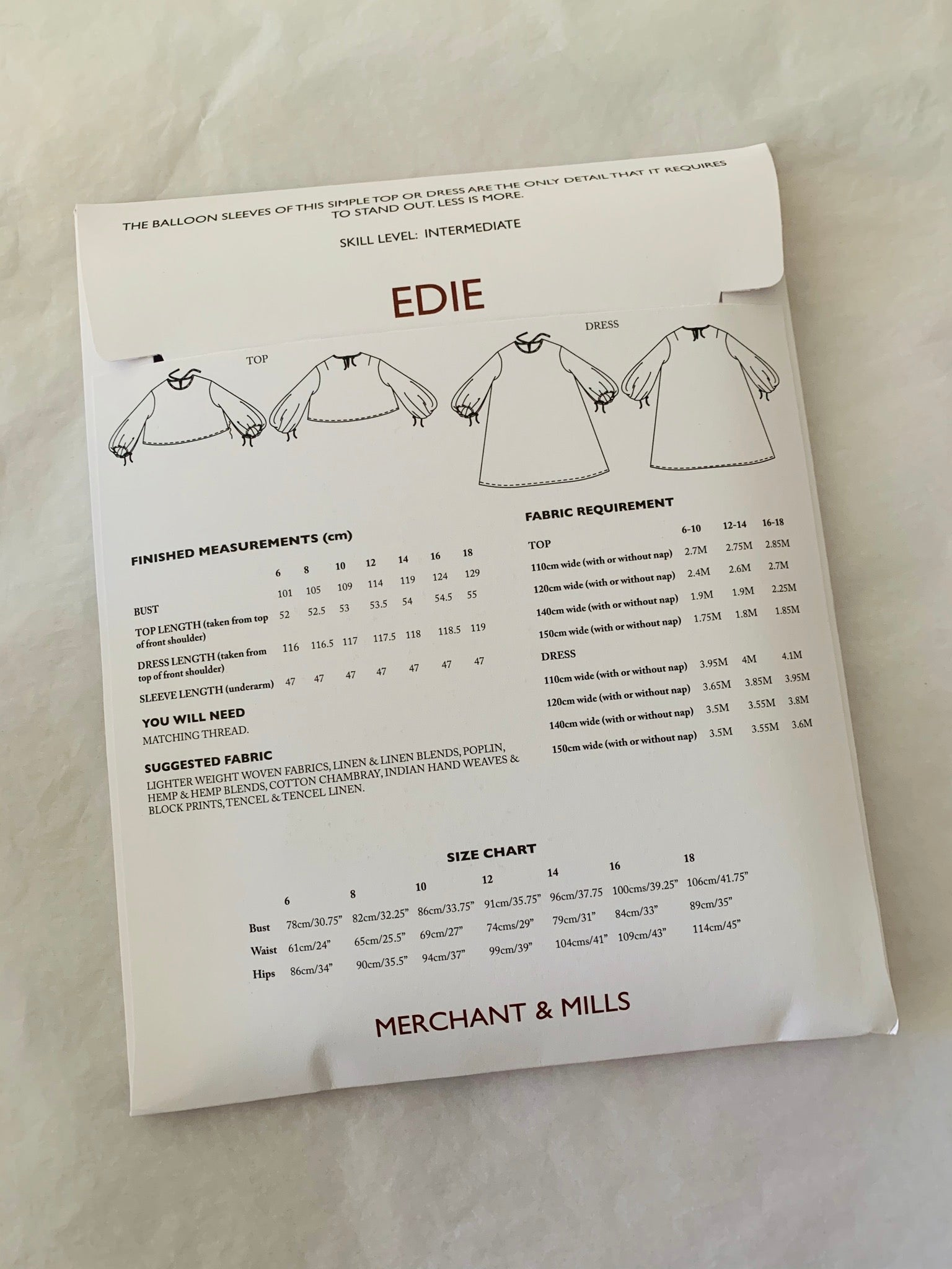 Merchant & Mills Sewing Pattern: Edie