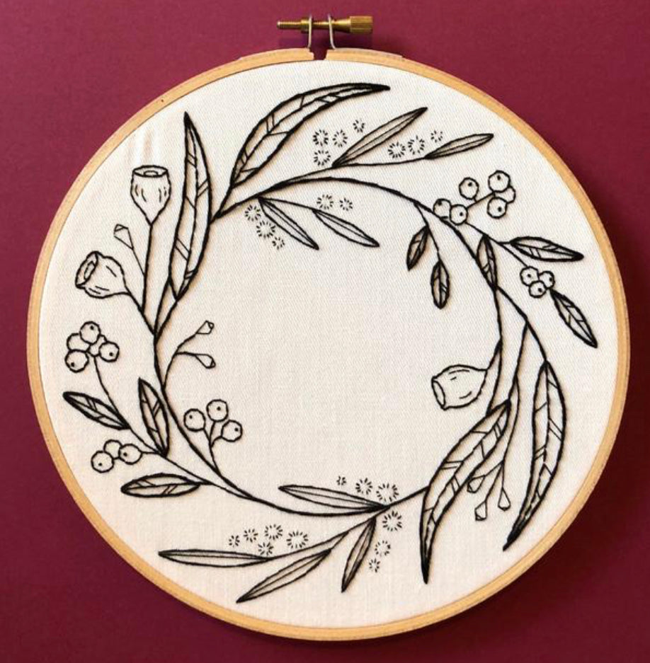 Lily Upton Embroidery Kit : Monochrome Native Wreath