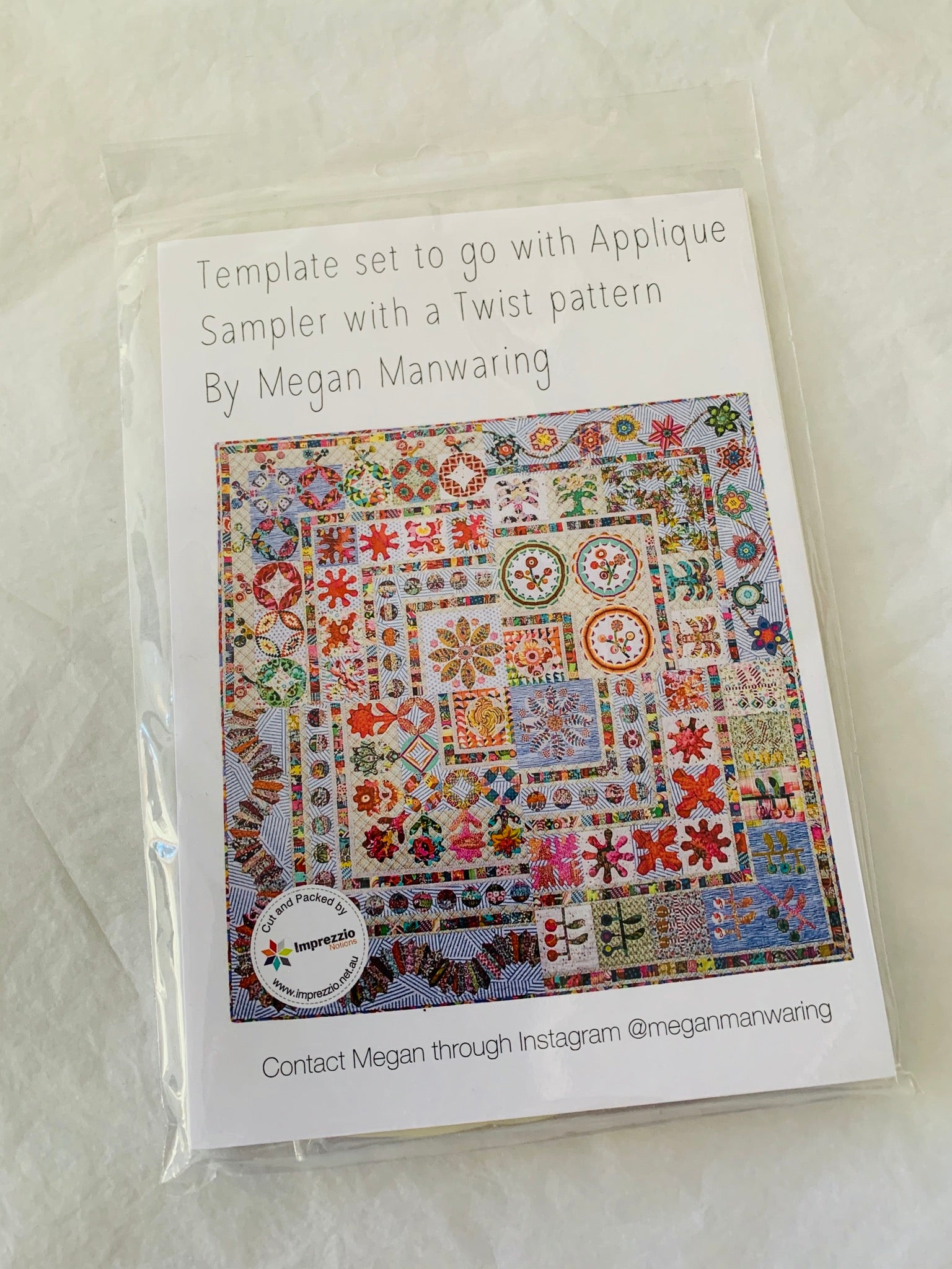 Megan Manwaring: Template set to go with Applique Sampler with a twist pattern