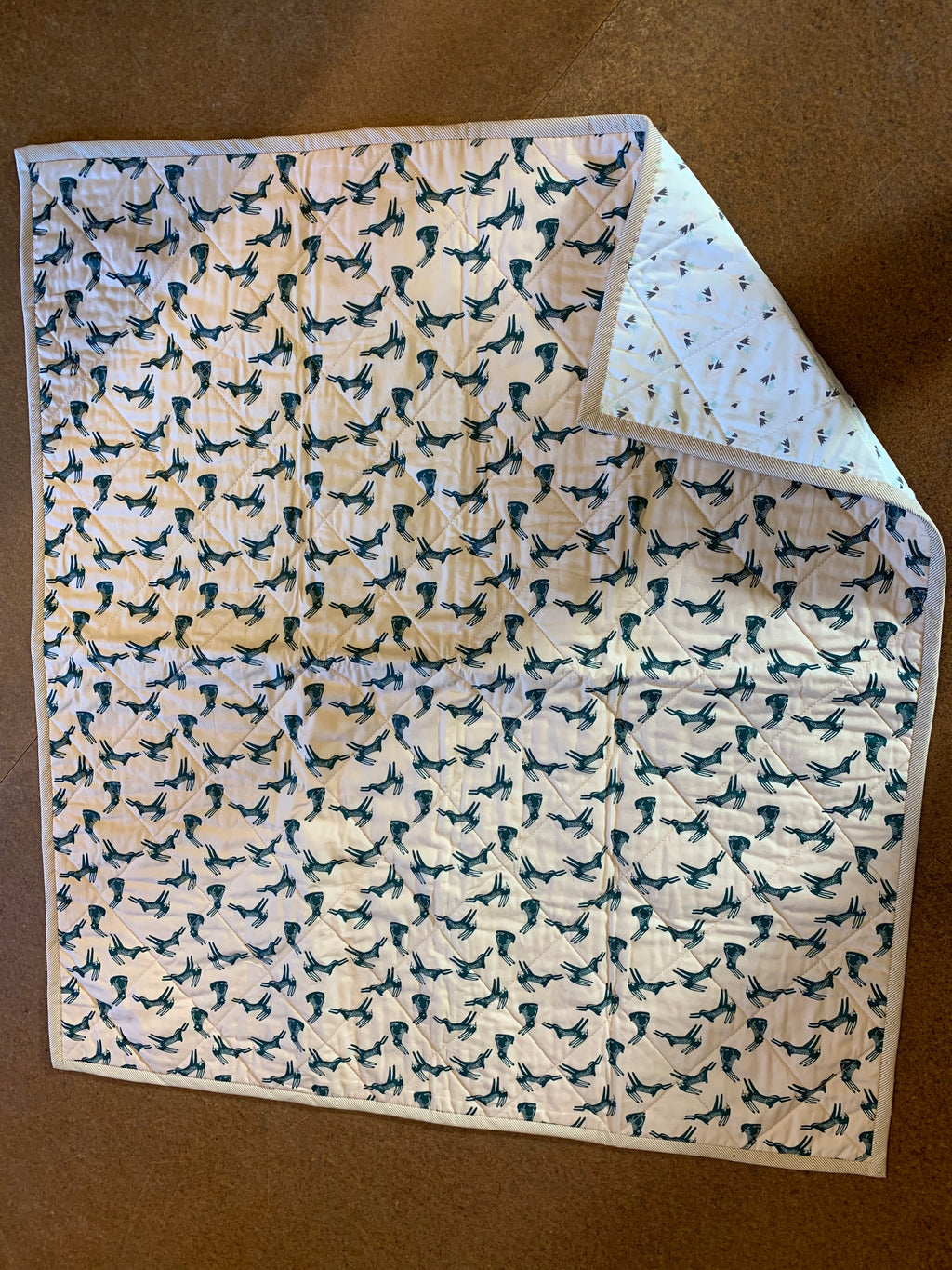The Selvedge Society whole cloth baby quilt: Bunny