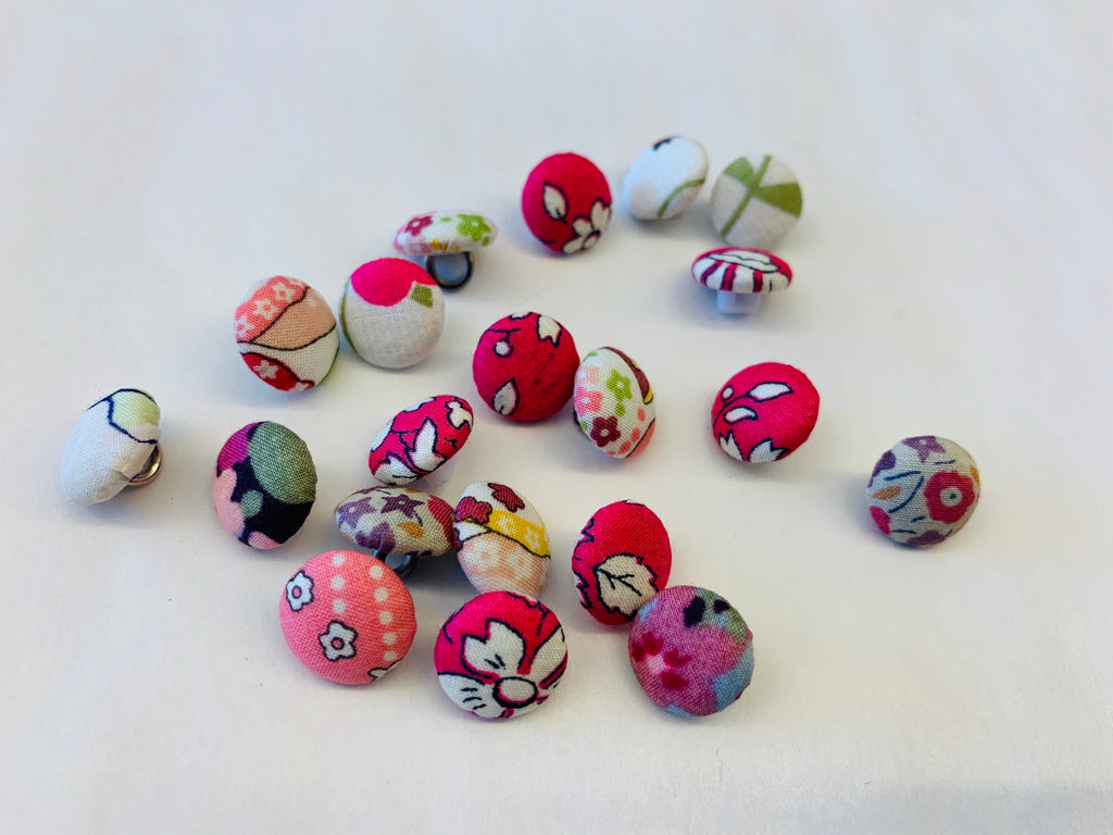 Liberty covered buttons: pinks