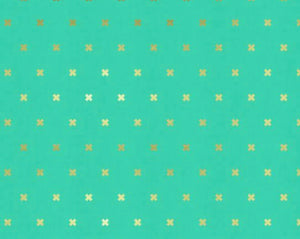 Cotton and Steel xoxo: mint/gold
