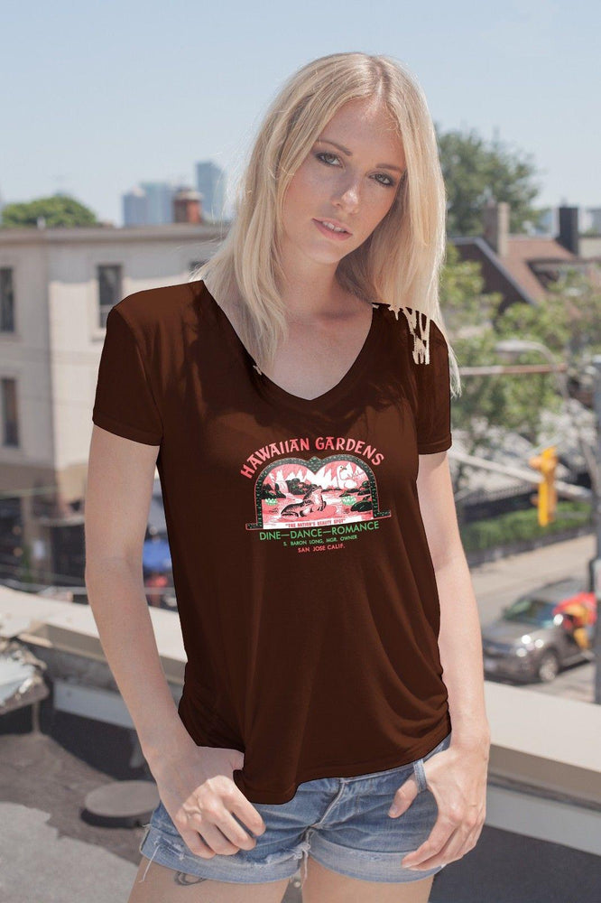 Hawaiian Gardens San Jose, CA Tiki Bar Vintage Advertising Ladies T-Shirt