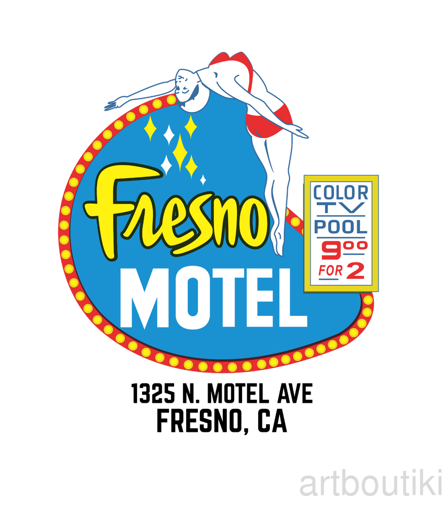 Load image into Gallery viewer, Fresno Motel Diving Lady Matchbook Advertising Art T-Shirt