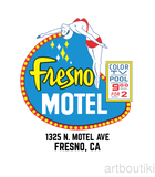 Fresno Motel Diving Lady Matchbook Advertising Art T-Shirt