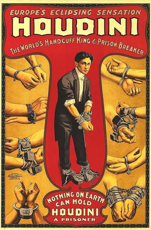 Harry Houdini The World's Greatest Escape Artist Poster Reproduction T-Shirt