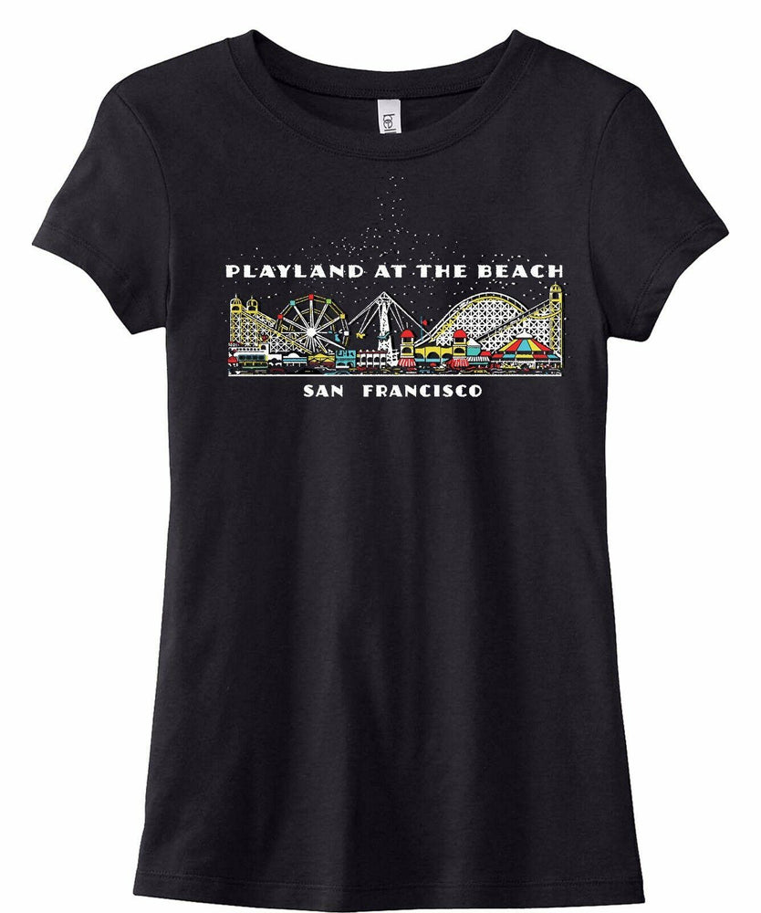 Playland at the Beach San Francisco Ladies T-Shirt Matchbook Art Reproduction
