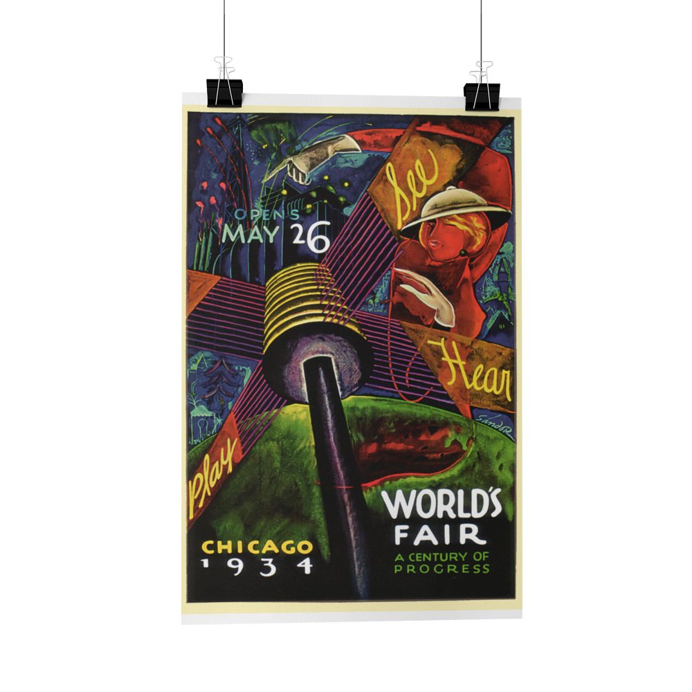 Chicago 1934 World's Fair Poster Reproduction card/print