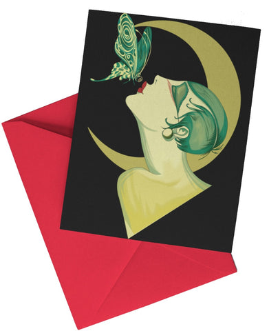Art Deco Butterfly Kisses Advertising Art Greeting Card/Poster/Print