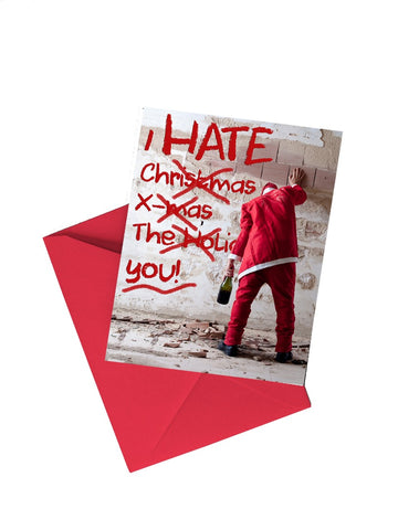 I Hate Christmas Bad Santa 5x7 Greetings Card