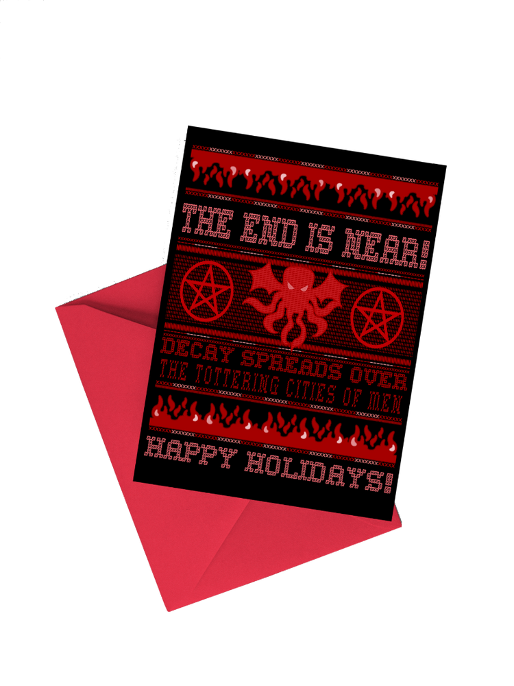 Cthulhu Ugly Sweater Christmas Holiday 5x7 Card (Set of Two)