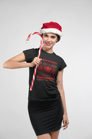 Cthulhu Ugly Sweater Christmas Holiday Ladies T-Shirt
