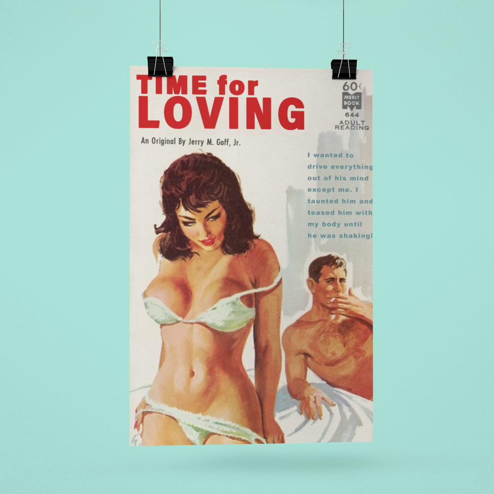Load image into Gallery viewer, Time for Loving Pulp Novel Cover Temptress Vixen Hotwife Artwork Poster/Print/Card