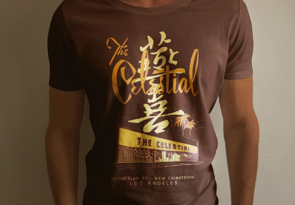Load image into Gallery viewer, Celestial Vintage Los Angeles Restaurant Menu Art Reproduction T-Shirt