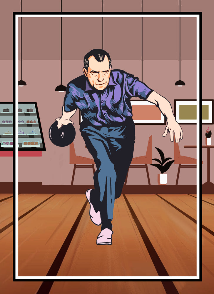 Load image into Gallery viewer, Nixon Bowling Poster/print/5x7 card
