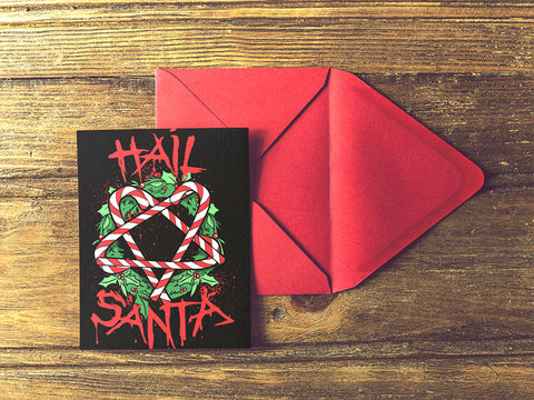 Hail Santa Metal Christmas Card 5x7 Set of Two