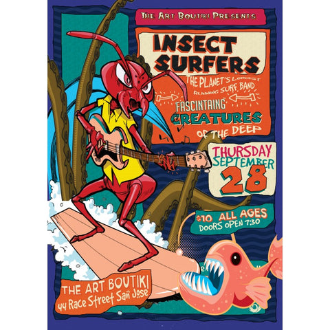 Insect Surfers at Art Boutiki Show Poster