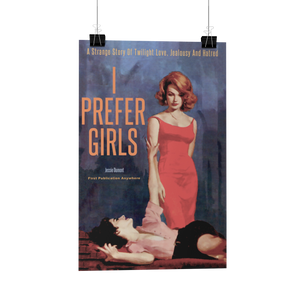 I Prefer Girls Pulp Novel Lesbian Cover reproduction poster/print/card