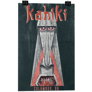 KAHIKI Tiki Bar Menu Fireplace Poster/Greeting Card