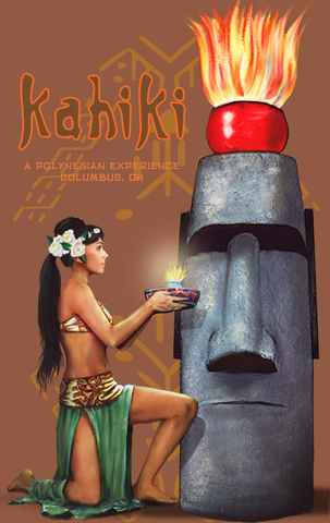 Kahiki TIki Bar Mystery Girl Tribute #2 Columbus Oh Poster Art 24x36, 13x19, greeting card